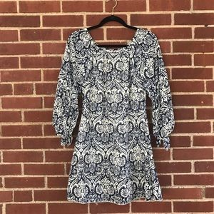Navy and white paisley summer dress